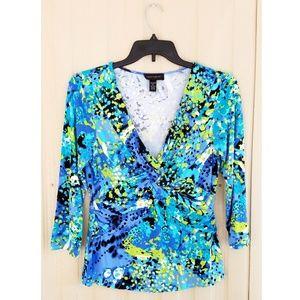 Cable & Gauge Multicolor Top Shirt Blouse 3/4 Blue